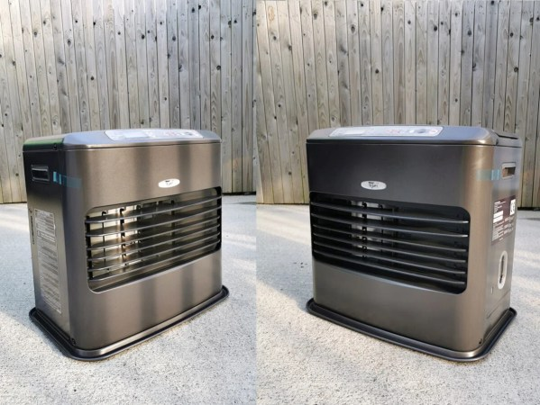 Two kero 4600 paraffin heaters side by side against a wooden wall at the Sheds Direct Ireland showroom in Finglas, Dublin.