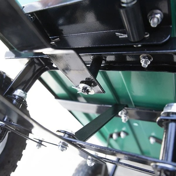 Detail of the underneath of the Tipping Utility Cart from Sheds Direct Ireland