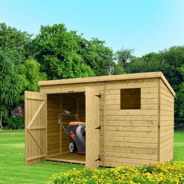 A wooden cabin shed that is long in appearance. It has a pair of double doors, which are open showing the storage of a lawnmower. There is a window to the right of the doors.
