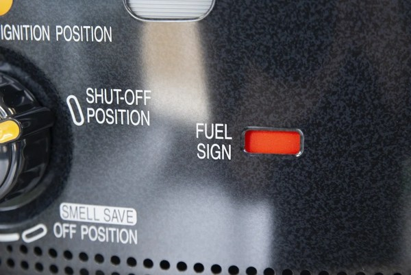 Detail of the fuel sign indicator from the RX2485 Heater from sheds direct Ireland