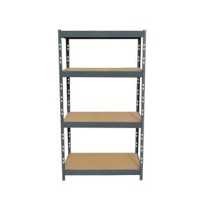 medium steel shelf with wood pieces