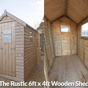 A 6ft x 4ft Wooden Shed in the Sheds Direct Ireland showroom in Dublin. There are 2 pictures side by side here, one an external view, the other is the interior. The shed is tall and narrow and a golden-brown colour. There is one window on the right hand side. There is a small step below the door and the floor of the shed is entirely wooden too.