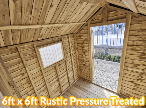 Inside the 6 foot wide and 6 foot deep, Deluxe Rustic Pressure Treated Shed from Sheds Direct Ireland