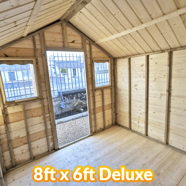 Inside the 8ft long and 6ft wide Deluxe wooden shed from sheds direct ireland