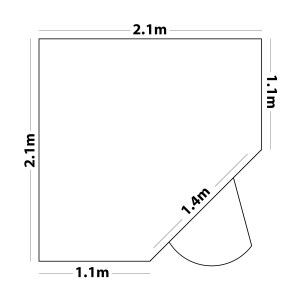 A map of the dimensions of the shed. There 5 sides to it. 2 are 2.1m, these are the back walls. 2 walls are 1.1m and these are connected by the wall with the door which is 1.4m long.