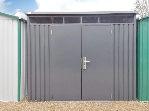 The front, exterior view of the Premium Pitched Shed from Sheds Direct Ireland