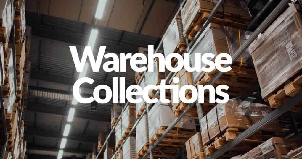 A picture of a warehouse aisle, stocked fully and all the products are wapped in a clear plastic. The Fluorescent lights are on and the shelves are a red-brown. On top of this it says 'Warehouse Collections'