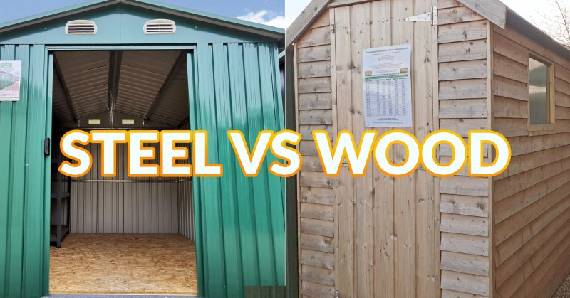STEEL VS WOOD is the text emblazoned over this image of two sheds side by side. Behind the text on the left is a tall, green steel garden shed. To the right there is a tall, narrow wooden garden shed which is almost golden-brown in colour.