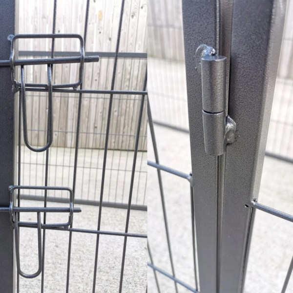 A close up view of the lock and adjoining panel pins on the Puppy Pen from Sheds Direct Ireland