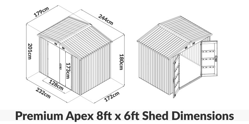8ft x 6ft Premium Shed Dimensions