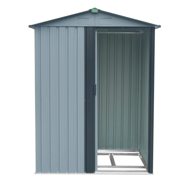 A front facing view of the Tiny Shed. It's a garden shed that's very small, the door is open the internal frame inside is visible and there is a charcoal grey trim around it.