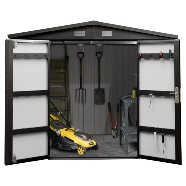 8ft wide x 6ft deep Premium Steel Shed against a white background. The doors are open and there are tools hanging on the back wall, some on the internal door frame and a yellow lawnmower in the middle.