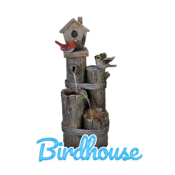 A Birdhouse Water Feature against a white backdrop