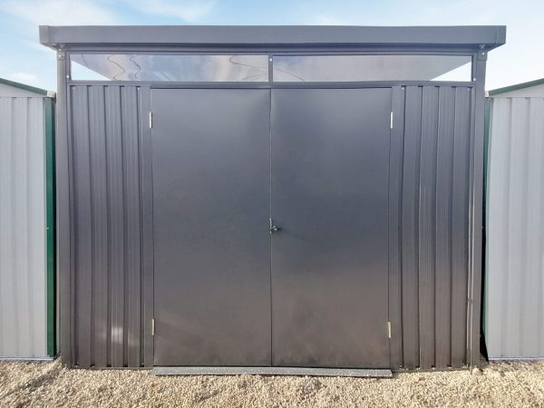 The Premium Panoramic shed, external view as seen straight on