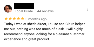A google review for Sheds Direct Ireland in Dublin, which compliments that quality and installation of the garden sheds