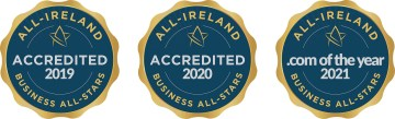 Three award insignias from the All Ireland Business All Stars. The first denotes accreditation in 2019, the second for 2020 and the third reads '.com of the year 2021'