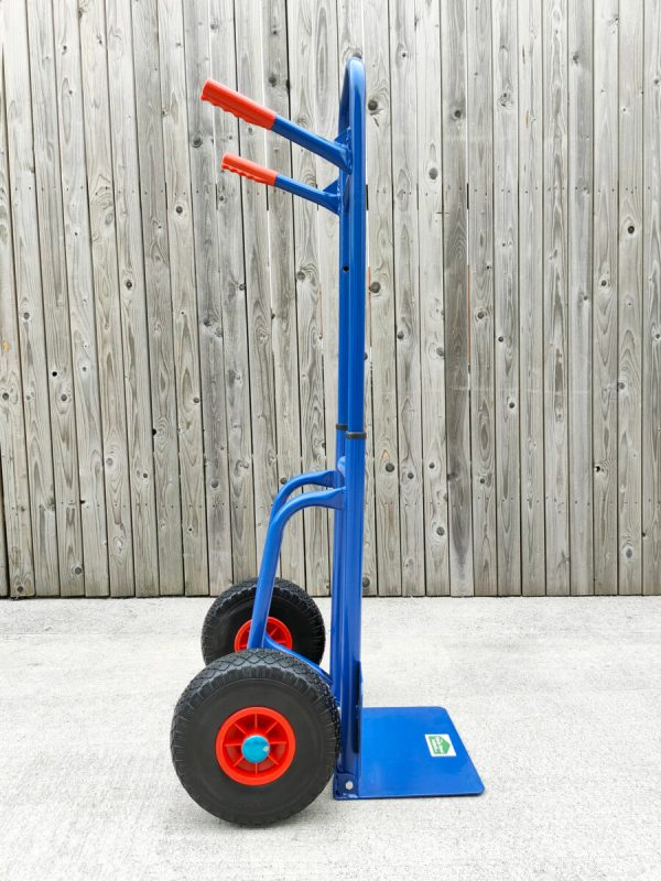 A side profile view of the compactable hand truck from sheds direct ireland