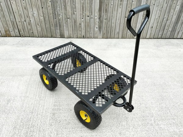 Above view of the mesh cart without any sides