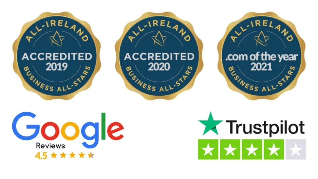 Three blue ribbons denoting Sheds Direct Ireland's business all star accreditation for 2019, 2020 & 2021. There is a google review banner with a 4.5 star rating and a trustpilot graphic with a 'great' rating also.