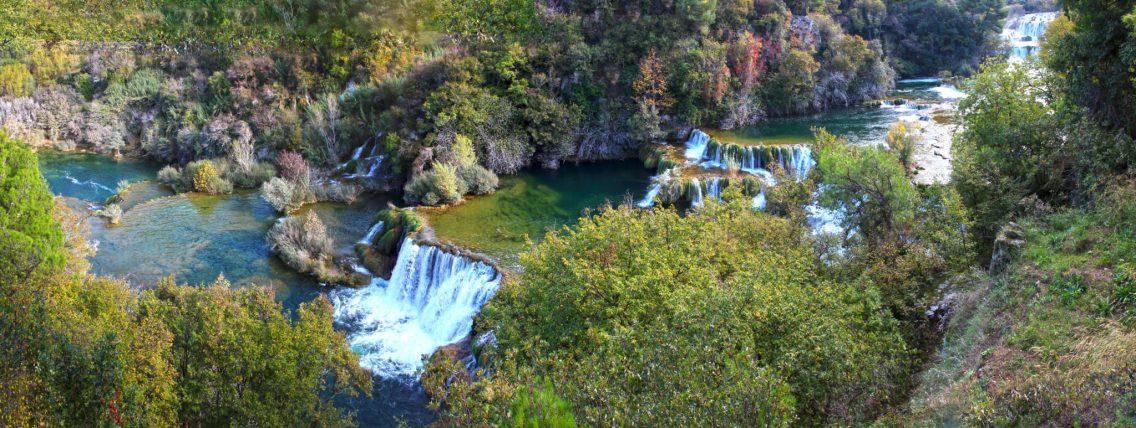 Überblick über die Wasserfall-Stufen des Skradinski Buks