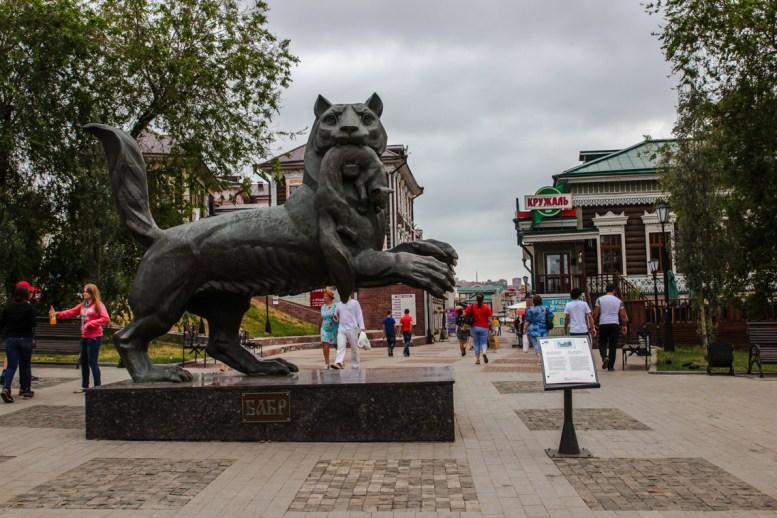 Wappentier von Irkutsk - das Fabeltier Babr steht für die Macht Sibiriens, der Zobel in seinem Maul für Sibiriens Reichtum
