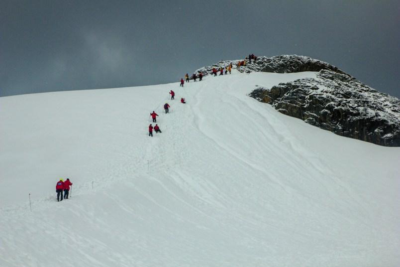 Besteigung des Gipfels hinter der Brown Station