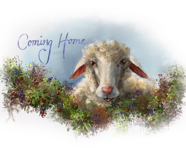 Lost Sheep Coming Home Print