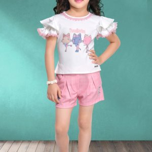 White Frill Top With Pink Divider