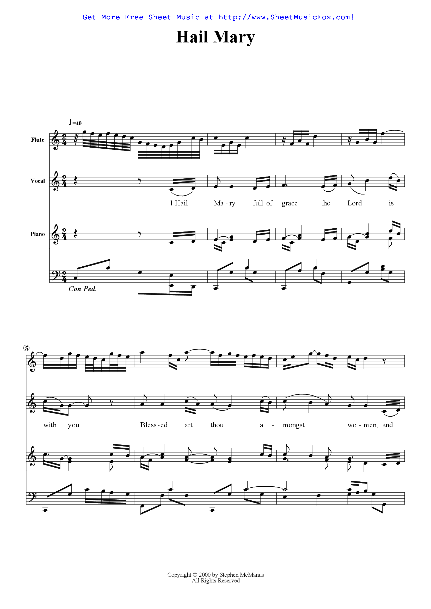 Free Sheet Music For Hail Mary Full Of Grace Mcmstephen By Stephen Mcm