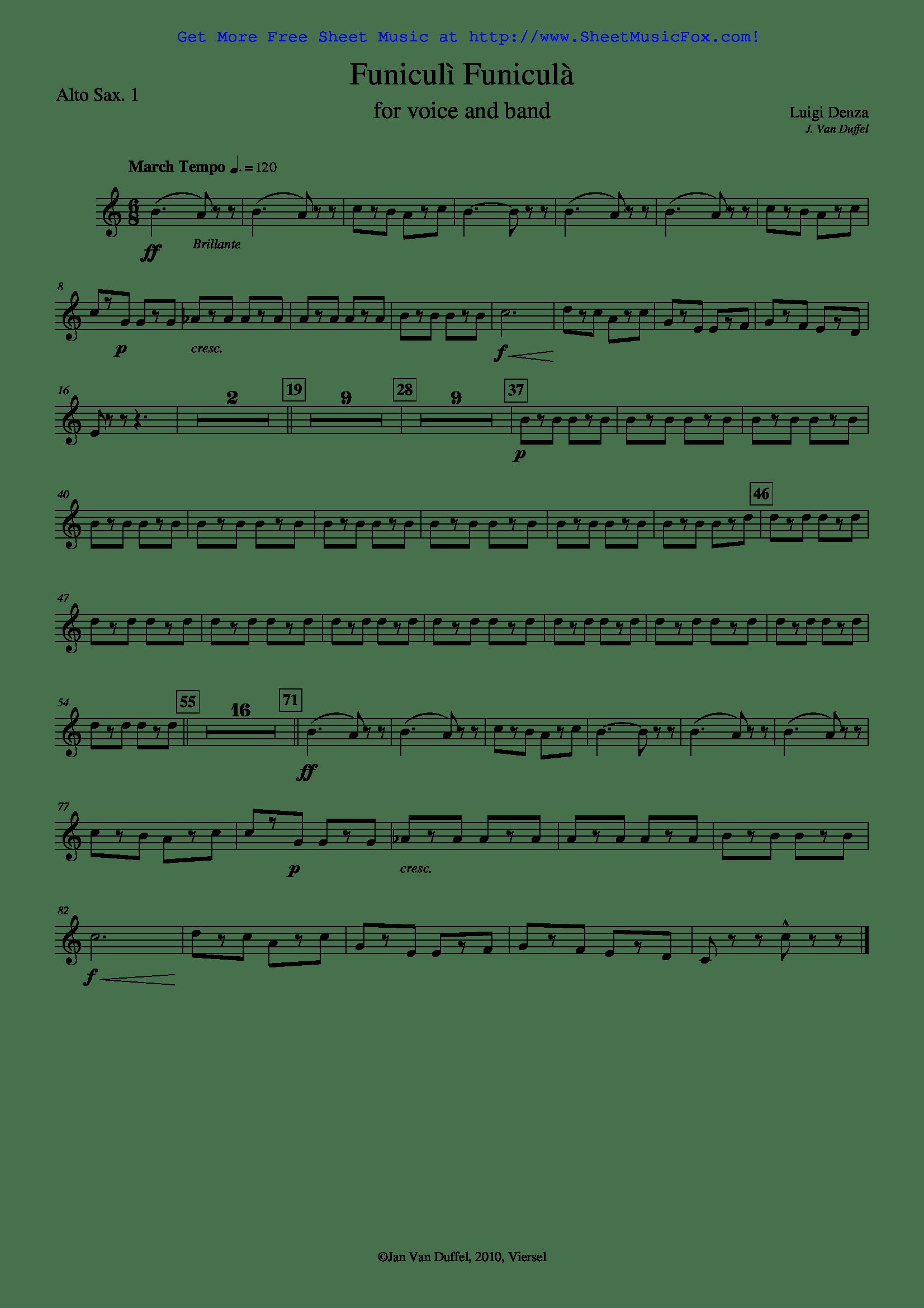 Free Sheet Music For Funiculi Funicula Denza Luigi By