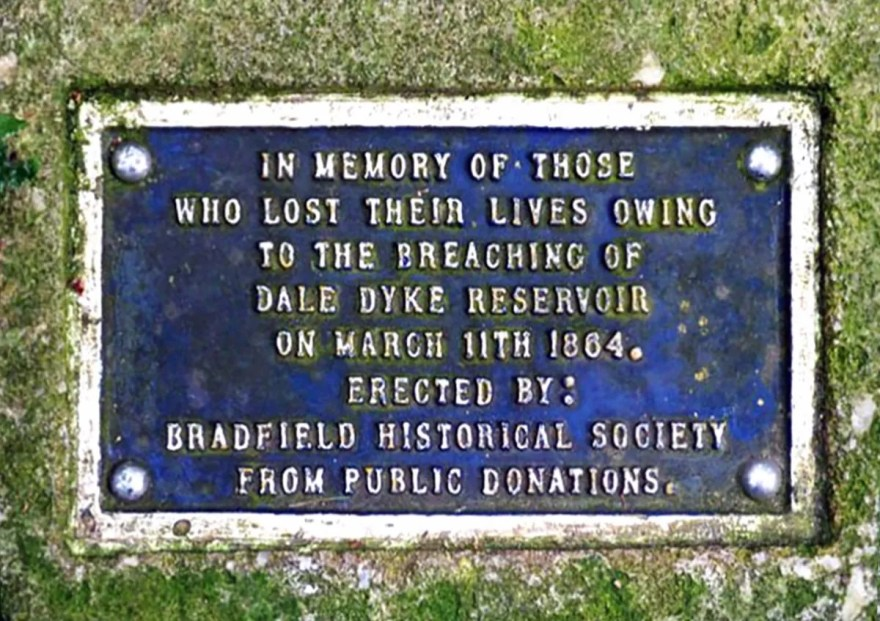 Dale Dyke Reservoir Sheffield Flood Plaque