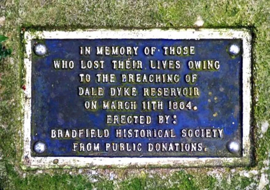 Dale Dyke Reservoir Sheffield Flood Plaque