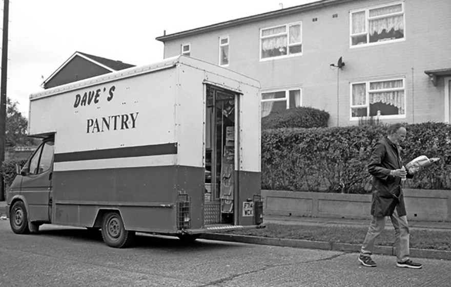 An old Bakery Van rebranded as 'Dave's Pantry'