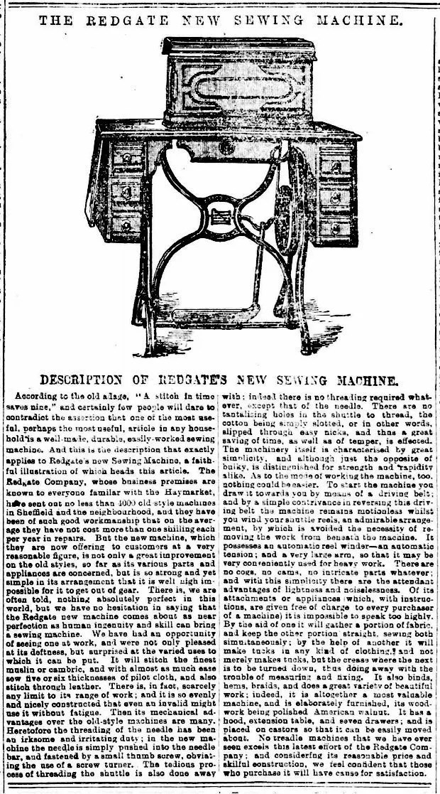 Redgates Sewing Machine Ad, 1884