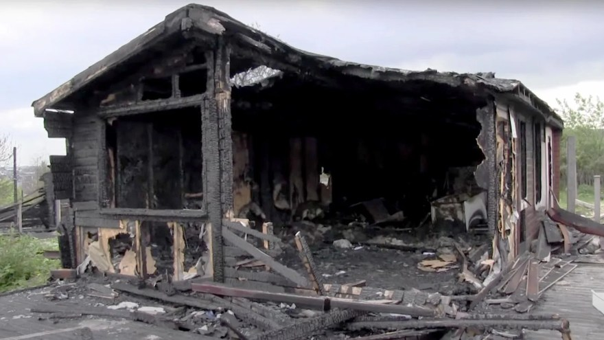 Burnt out ski lodge