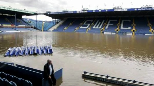 Sheffield Wednesday's Hillsborough Stadium Flooded