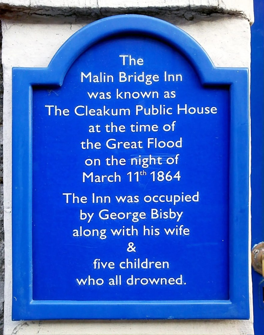 Sheffield Flood Memorial Sign at Malin Bridge Inn