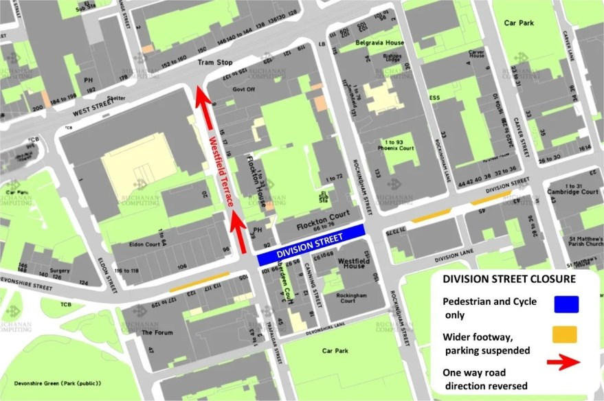 Road changes around the Division Street area (Source: Sheffield City Council)