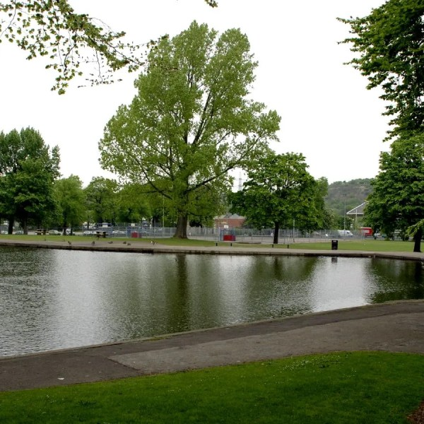Hillsborough Park, looking over the fishing lake and tennis courts towards the A61