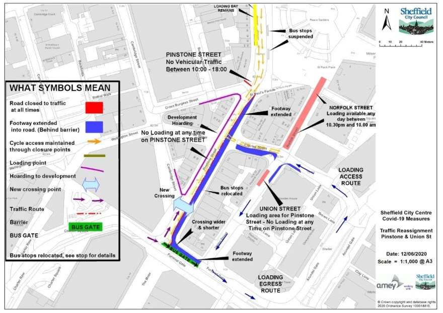 Road closures around the Pinstone Street area (Source: Sheffield City Council)