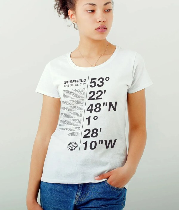 Sheffield Coordinates (Dark Print) Ladies T-Shirt (White)