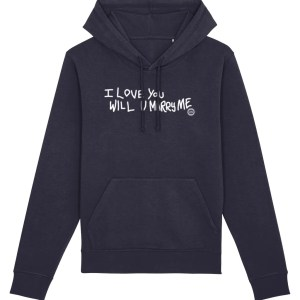 """""""I Love You Will U Marry Me"""" Hoodie (French Navy)"""