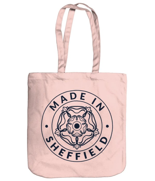 Made in Sheffield Organic Tote Bag, Pastel Pink