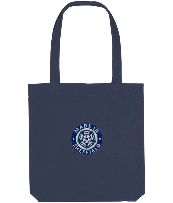 Made in Sheffield Embroidered Motif Tote Bag, Midnight Blue