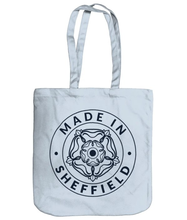Made in Sheffield Organic Tote Bag, Pastel Blue