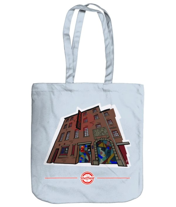 The Leadmill Sheffield Organic Tote Bag (Art by James), Pastel Blue