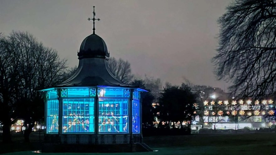 Sheffield's Weston Park Bandstand Lit Up for Christmas (photo: Shefffield City Council)