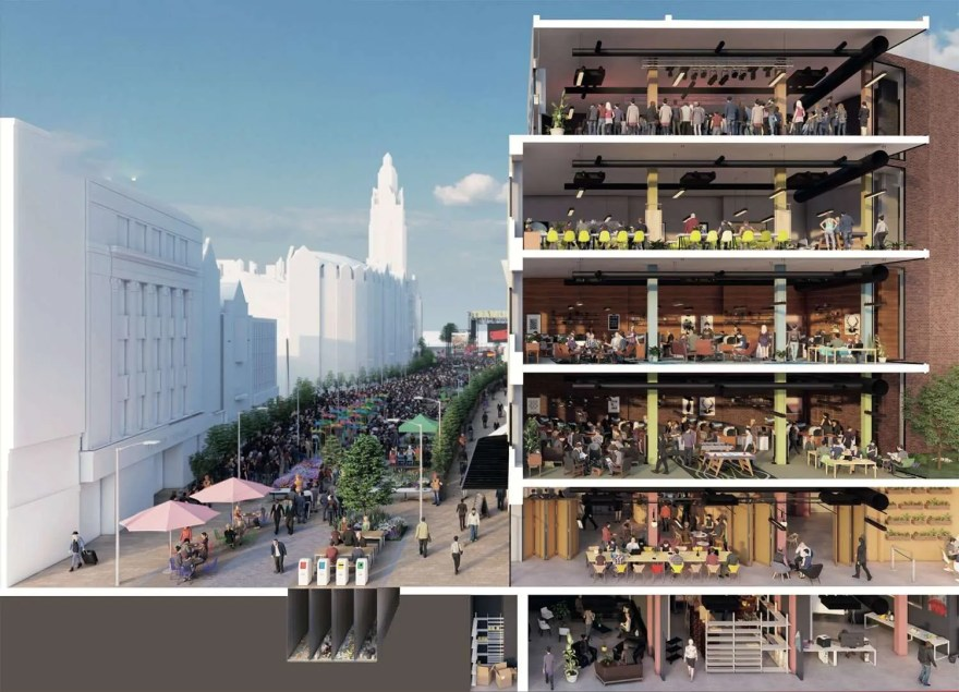 Plans for Fargate's 'Future High Streets' development showing the Event Central Building