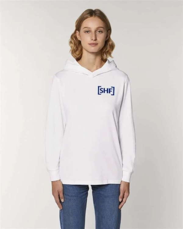 [SHF] Motif Embroidered Long Sleeve Hooded T-Shirt, White