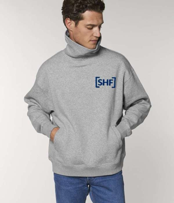 [SHF] Motif Embroidered High Neck Pocketed Sweatshirt